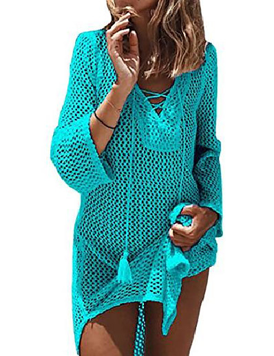cheap Cover Ups-women's lace-up bathing suit bikini swimsuit crochet tunic cover up swimwear dress beach top (green)