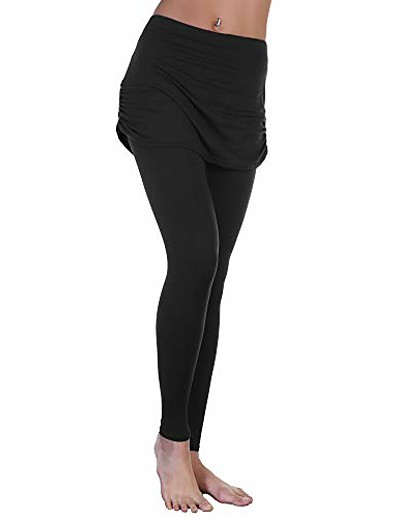 cheap Leggings-women's high waist leggings with attached ruched side mini skirt, 041_l-xl