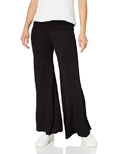 cheap Women's Pants-women's petite stretch ity knit wide-leg palazzo pant, black, pm