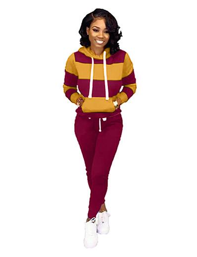 billige Jumpsuits i plusstørrelse til damer-Dame Helfarge عادي Jul To-delt sett T skjorte Bukse lounge Snorer Lapper Topper