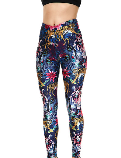 cheap Women's Bottoms-Women's Sporty Comfort Gym Yoga Leggings Pants Animal Flower Ankle-Length Print Royal Blue