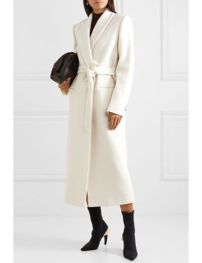 cheap Coats & Trench Coats-Women's Winter Coat Long Solid Colored Daily Basic Wool White S M L XL