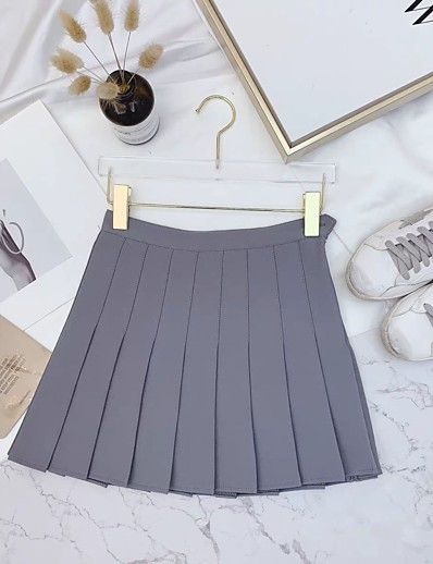 cheap Women's Bottoms-women high waist solid pleated plus size single tennis skirts white l