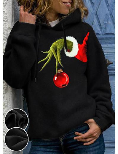 cheap Christmas Tops-Women's Pullover Hoodie Sweatshirt Cartoon Graphic Christmas Daily Basic Christmas Hoodies Sweatshirts  Black