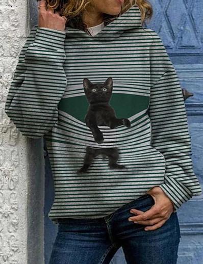 abordables Sweats à capuche et sweat-shirts-Femme Sweat-shirt à capuche Chat Graphique Décontracté Quotidien basique Pulls Capuche Pulls molletonnés Noir Bleu Vert