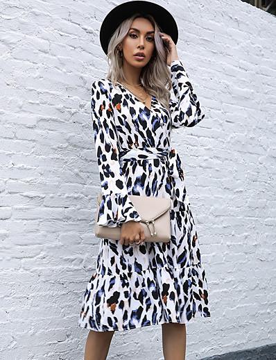 cheap Women-Women's A Line Dress Knee Length Dress Khaki Beige Long Sleeve Leopard Fall Winter V Neck Casual 2021 S M L XL / Cotton / Cotton