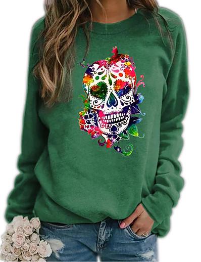 cheap Hoodies & Sweatshirts-Women's Hoodie Sweatshirt Rainbow Graphic Skull Daily Casual Hoodies Sweatshirts  Loose Blue Khaki Green