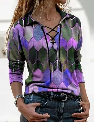 cheap Clearance-Women's Christmas T-shirt Color Block Tie Dye Long Sleeve Print V Neck Tops Christmas Basic Top Blue Purple Red