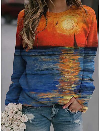 cheap Hoodies & Sweatshirts-Women's Hoodie Sweatshirt Graphic Daily 3D Print Basic Casual Hoodies Sweatshirts  Blue Green