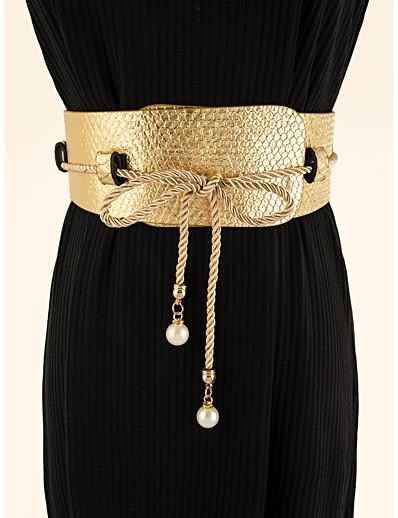 cheap Belt-Women's Wide Belt Gold Party Wedding Street Daily Belt Pure Color / Work / Fall / Winter / Spring / Summer