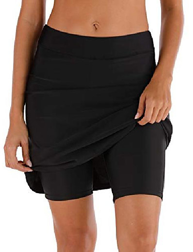 cheap Cover Ups-women's swim skirt shorts bottoms high waisted athletic skirt sun protection skirted skorts upf 50+ blue