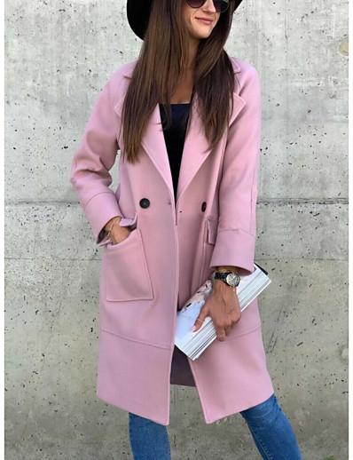 abordables Blazers-Femme Manteau Longue Couleur Pleine Quotidien basique Noir Rose Claire Kaki S M L XL