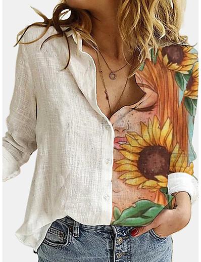 cheap New Arrivals-Women's Blouse Shirt Floral Sunflower Long Sleeve Print Shirt Collar Basic Tops White
