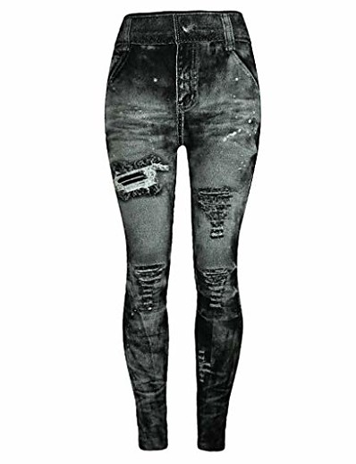 cheap Women's Bottoms-jeggings high waist butt lift skinny jeans vintage pants leggings plus/junior size s-xl gray