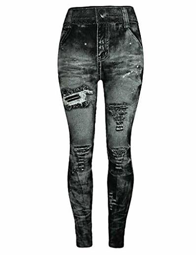 abordables Pantalons et Jupes Femme-jeggings taille haute bout à bout skinny jeans pantalon vintage leggings plus / junior taille s-xl gris