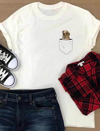 cheap 2021 Trends-Women's T shirt Graphic Prints Print Round Neck Tops 100% Cotton Basic Basic Top White Light Blue
