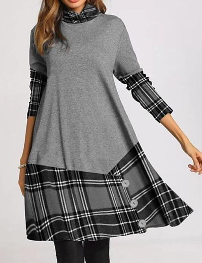 cheap Knee-Length Dresses-Women's A-Line Dress Knee Length Dress - Long Sleeve Plaid Color Block Patchwork Print Fall Winter Turtleneck Casual 2020 Gray S M L XL XXL 3XL 4XL
