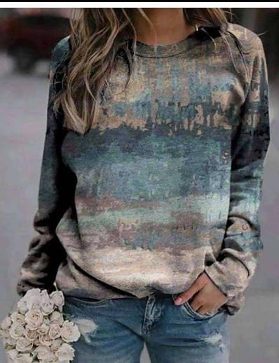 preiswerte Kapuzenpullis & Sweatshirts-Damen Pullover Sweatshirt Grafik Einfarbig Alltag Freizeit Kapuzenpullover Sweatshirts Blau Rote Grau