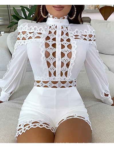 cheap Mini Dresses-Women's Sweater Jumper Dress Short Mini Dress White Black Long Sleeve Solid Color Lace Patchwork Hollow To Waist Fall Round Neck Hot 2021 S M L XL