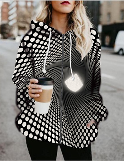 cheap 3D Trends-Women's Daily Going out Coat Regular Fit Sporty Basic Jacket 3D Print Long Sleeve Print Graphic 3D Black