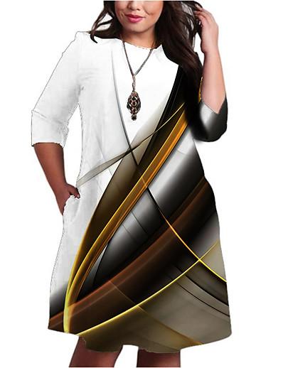 abordables Tendances 3D-Femme Robe Trapèze Robe Longueur Genou Demi Manches Rayé Imprimé Poche Patchwork Imprimé Automne Printemps Grandes Tailles Simple 2021 Blanche XXL 3XL 4XL 5XL 6XL