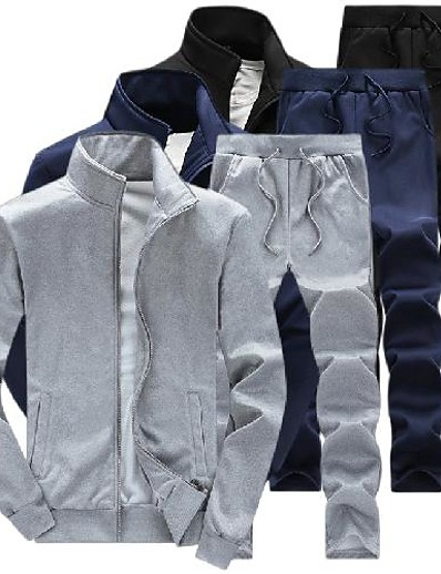 cheap Running, Jogging & Walking-Men's 2 Piece Full Zip Tracksuit Sweatsuit Jogging Suit Street Casual 2pcs Winter Long Sleeve Thermal Warm Moisture Wicking Breathable Fitness Running Active Training Jogging Sportswear Solid Colored