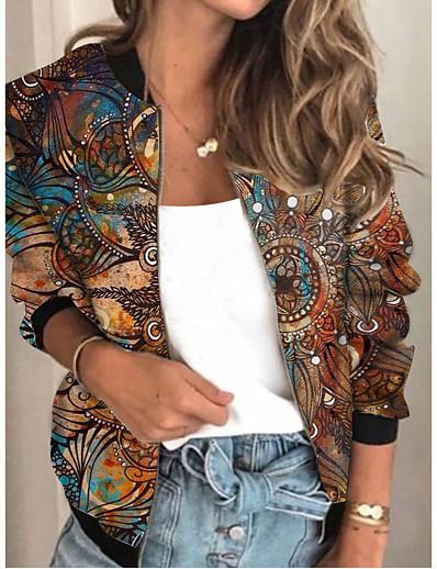 cheap Outerwear-Women's Jacket Sports Spring &  Fall Regular Coat Regular Fit Streetwear Jacket Long Sleeve Geometric Patchwork Purple Khaki / Going out / Print
