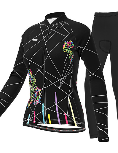 cheap Cycling-21Grams Women's Long Sleeve Cycling Jersey with Tights Winter Summer Lycra Polyester Purple Yellow Red Plus Size Bike Clothing Suit 3D Pad Ultraviolet Resistant Quick Dry Breathable Reflective Strips