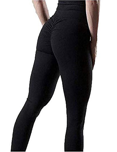 cheap Running, Jogging & Walking-ruched leggings for women scrunch butt high waist pants workout running gym trousers (black, xxl)
