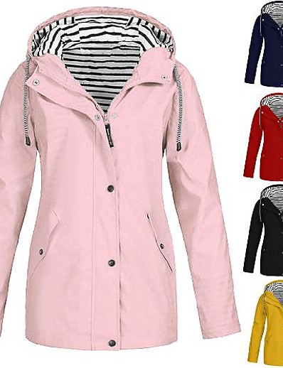 cheap Softshell, Fleece & Hiking Jackets-Women's Hiking Jacket Cotton Outdoor Windproof Quick Dry Breathable Top Full Length Visible Zipper Fishing Navy Pink Yellow Black Red