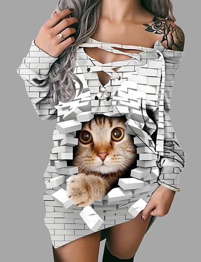 cheap NEW IN-Women's Shift Dress Short Mini Dress - Long Sleeve Animal Print Spring Fall 3D Print Casual 3D Print White S M L XL XXL 3XL