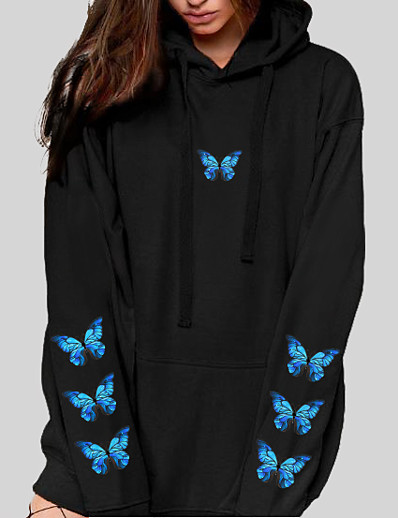 cheap Hoodies & Sweatshirts-Women's Graphic Butterfly Hoodie Pullover Front Pocket Daily Basic Casual Hoodies Sweatshirts  Blushing Pink White Black