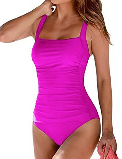 cheap One-Pieces-Women's One Piece Swimsuit Ruched Solid Color Black Blue Wine Fuchsia Brown Swimwear Padded Strap Bathing Suits Fashion Sexy