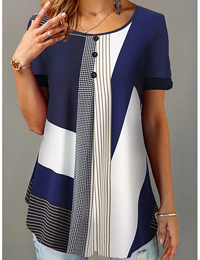 cheap Plus Size Tops-Women's Plus Size Tops Blouse Color Block Patchwork Print Short Sleeve Round Neck Big Size / Loose