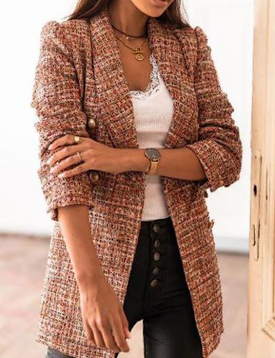 cheap Blazers-Women's Double Breasted Shawl Lapel Blazer Geometric Black / Khaki / Brown S / M / L