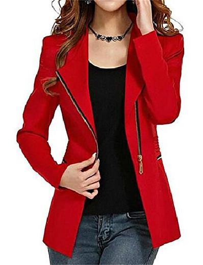 cheap Blazers-Women's Coat Pocket Solid Color Basic Long Sleeve Coat Street Fall Winter Regular Jacket A / Spring