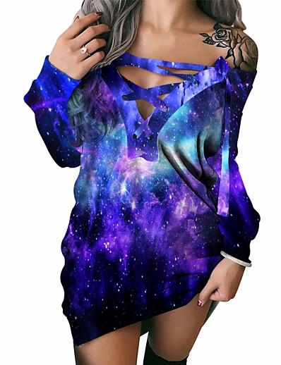 cheap NEW IN-Women's Shift Dress Short Mini Dress - Long Sleeve Print Print Spring Fall Casual 2021 Blue S M L XL XXL 3XL
