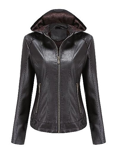 cheap Furs & Leathers-Women's Faux Leather Jacket Fall Winter Spring Street Daily Date Short Coat Hoodie Warm Slim Fit Basic Casual Jacket Long Sleeve Zipper Solid Color Camel Black Red
