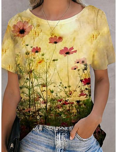 cheap Plus Size Tops-Women's Plus Size Blouse Floral Print Round Neck Tops Basic Top