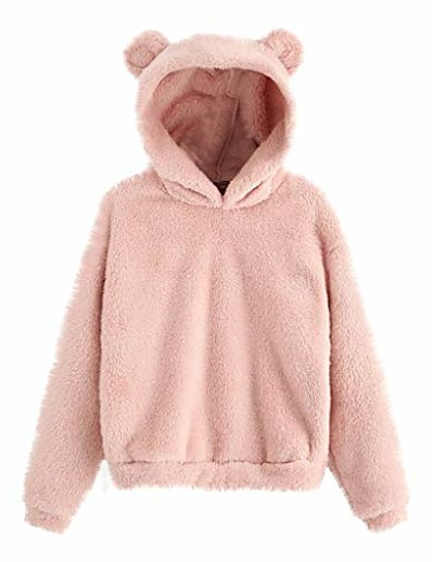 cheap Hoodies & Sweatshirts-women's fleece fuzzy bear ear hooded sweatshirts hoodie long sleeve casual pullover tops pink