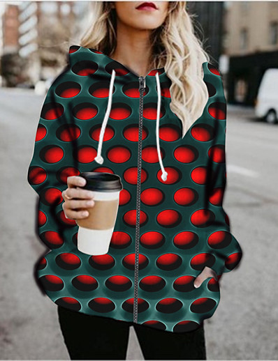 cheap 3D Trends-Women's Pullover Hoodie Sweatshirt Graphic 3D Print Daily Going out 3D Print Basic Hoodies Sweatshirts  Red