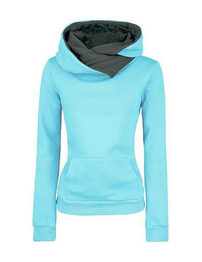 abordables Tops Grandes Tailles Femme-Femme Sweat-shirt à capuche Couleur unie Quotidien basique Simple Pulls Capuche Pulls molletonnés Bleu Roi
