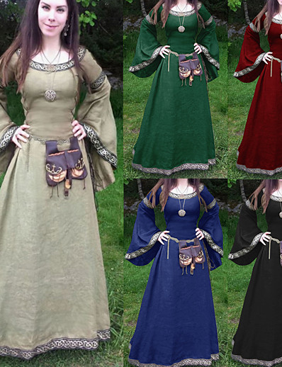 cheap Historical & Vintage Costumes-Outlander Classic & Timeless Medieval Prom Dress Fall Adults' Female Polyester / Cotton Blend Costume Blue / Light Brown / Gray Vintage Cosplay Round Neck Ankle Length / Spring & Summer / Washable