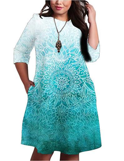 cheap 3D Trends-Women's A-Line Dress Knee Length Dress Half Sleeve Print Color Gradient Pocket Patchwork Print Fall Spring Plus Size Casual 2021 Light Blue XXL 3XL 4XL 5XL 6XL