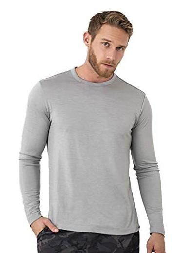abordables TENUE DE SPORT-Couche de base en laine mérinos - Chemises thermiques à manches longues 100% laine mérinos pour hommes légères, mi-épaisses, épaisses (xx-large, gris chiné)