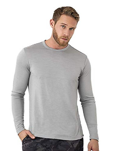 cheap SPORTSWEAR-merino wool base layer - mens 100% merino wool long sleeve thermal shirts lightweight, midweight, heavyweight (xx-large, grey marl)