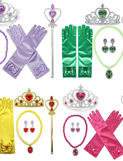 cheap Movie & TV Theme Costumes-Princess Halloween Props Holiday Jewelry Girls' Movie Cosplay Accent / Decorative Gloves Purple Yellow Blue Gloves Necklace Earring Christmas Halloween Carnival Plastics / Tiaras / Wand