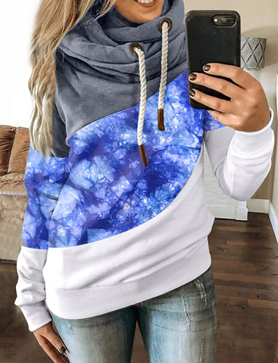 cheap Hoodies & Sweatshirts-Women's Pullover Hoodie Sweatshirt Graphic Color Block Daily Casual Hoodies Sweatshirts  Blue Purple Red