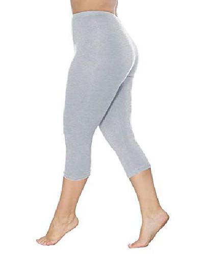 cheap 2021 Trends-womens plus size capri leggings soft stretch cropped pants(light grey,3xl)