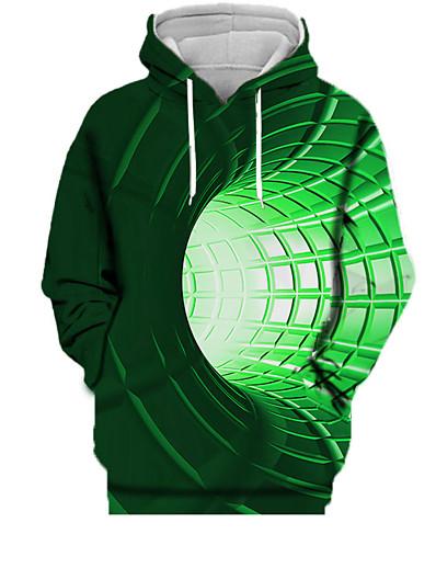abordables Tendances 2021-Femme Sweat-shirt à capuche 3D Imprimé Quotidien Des sports Impression 3D Motifs 3D Actif Pulls Capuche Pulls molletonnés Vert
